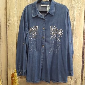 Embellished Chambray Shirt